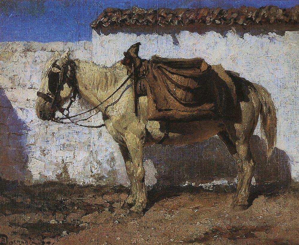 Белая лошадка. Нормандия, Василий Дмитриевич Поленов Больная Поленов