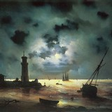 Берег моря ночью. У маяка