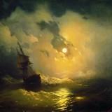 Буря на море ночью