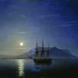Парусник у берегов Крыма в лунную ночь