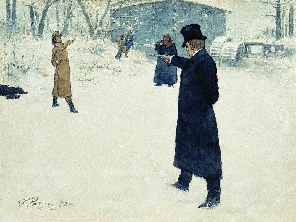 Картинки по запросу Дуэль Онегина и Ленского в живописи