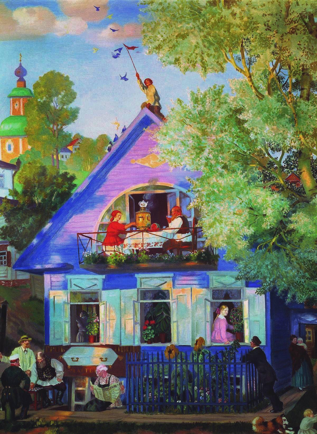 Голубой домик - Борис Михайлович Кустодиев. 1920.