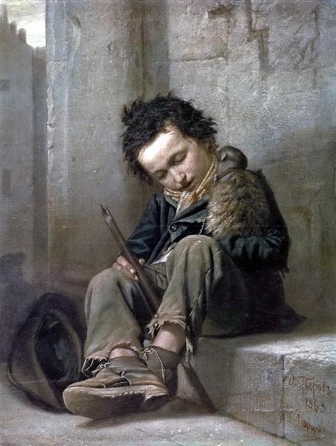 Мальчик савойяр с сурком, картина русского художника Перова