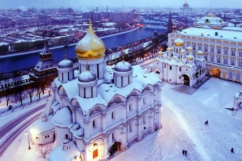 Архангельский собор зимой - вид сверху