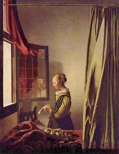 Дев��ка �и�а��ая пи��мо � �а�к���ого окна Ян Ве�мее�
