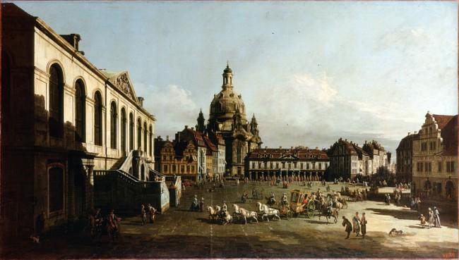 Городской рынок Дрездена - Бернардо Беллотто (Каналетто)