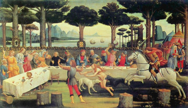 an analysis of boccaccios on the decameron set within the framework of a group of ten men and women The decameron (ten days), subtitled stories related by a group of ten thoroughly bored short stories told over ten days and is set against the backdrop.