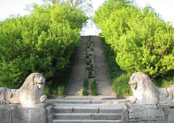 Львы охраняют лестницу