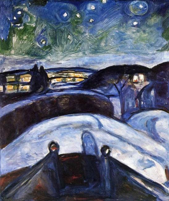 Звездная ночь, Мунк, 1922