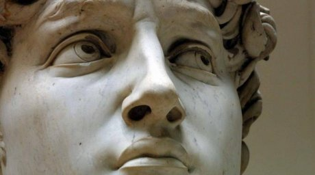 "Скульптура Микеланджело ""Давид"", лицо вблизи"