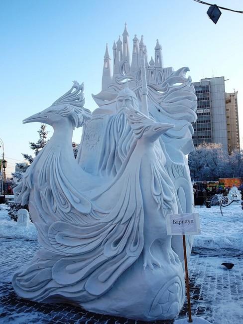 Русь богатырская, скульптура изо льда