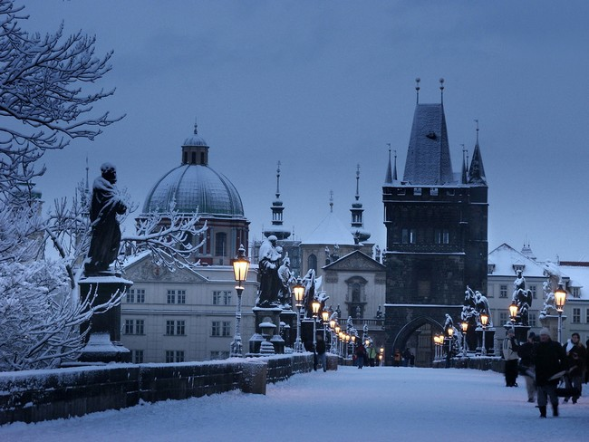 Прага, зима, снег