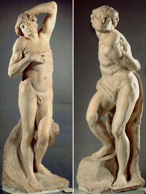 """Скульптуры Микеланджело """"Восставший раб"""" и """"Умирающий раб"""", Лувр"""