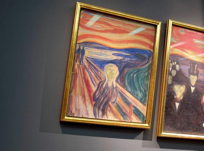 """Картина """"Крик"""" в музее Мунка в Осло, Норвегия"""