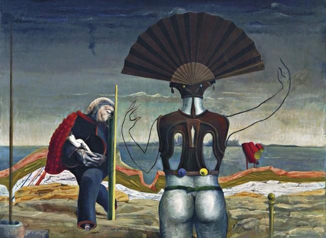 Женщина, старик и цветок, Макс Эрнст - описание картины