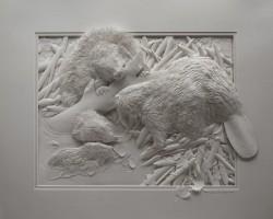 """Скульптура из бумаги """"Бобры"""", Кэлвин Николлс"""