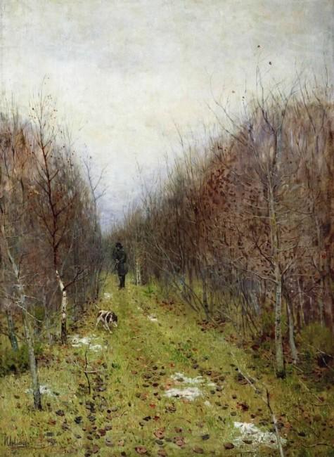 «Осень. Охотник», Исаак Ильич Левитан — описание картины