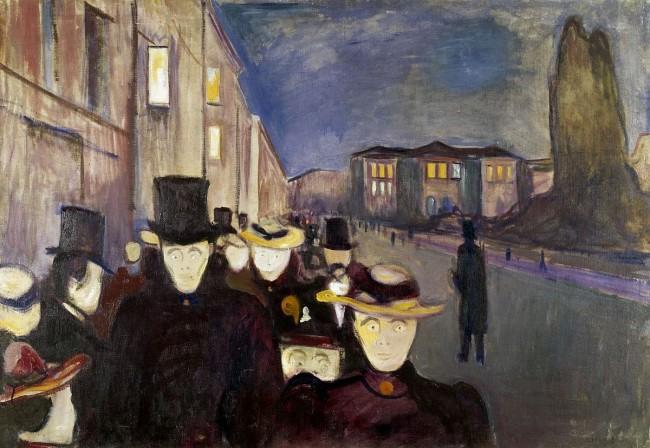 «Вечер на улице Карла Юхана», Эдвард Мунк — описание картины