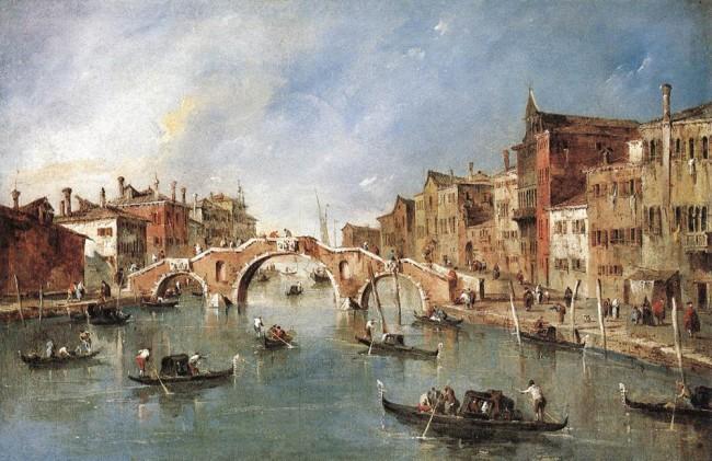 «Трехарочный мост», Франческо Гварди — описание картины