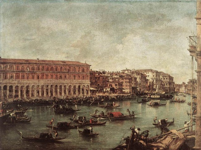 «Большой канал в районе рыбного рынка», Франческо Гварди — описание картины