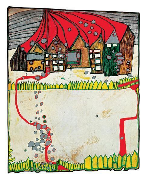 «Дома под снегом в серебряный дождь с красной дорожкой», Фриденсрайх Хундертвассер