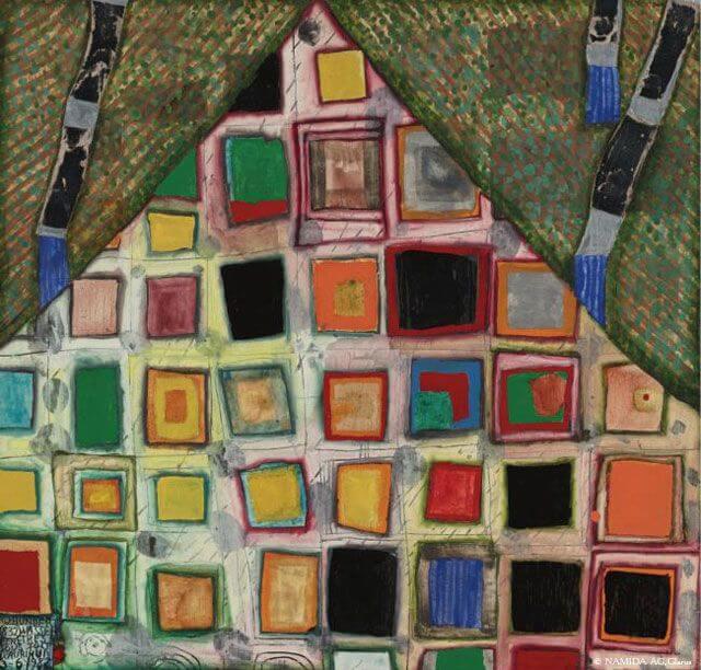 «Окна под крышей», Фриденсрайх Хундертвассер — описание картины