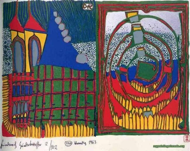 «Сюжет 1», Фриденсрайх Хундертвассер — описание картины
