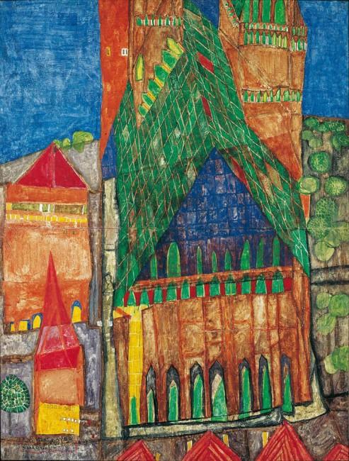 «Кафедральный собор I», Фриденсрайх Хундертвассер — описание картины