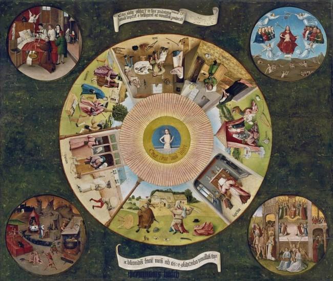 «Семь смертных грехов и Четыре последние вещи», Иероним Босх — описание картины