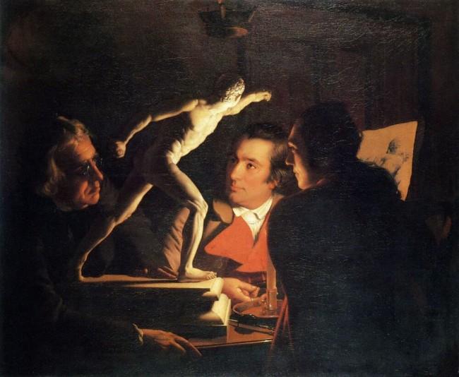 «Три человека, рассматривающие гладиатора при свечах», Джозеф Райт — описание картины