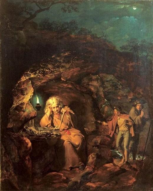 «Философ при свете лампы», Джозеф Райт — описание картины