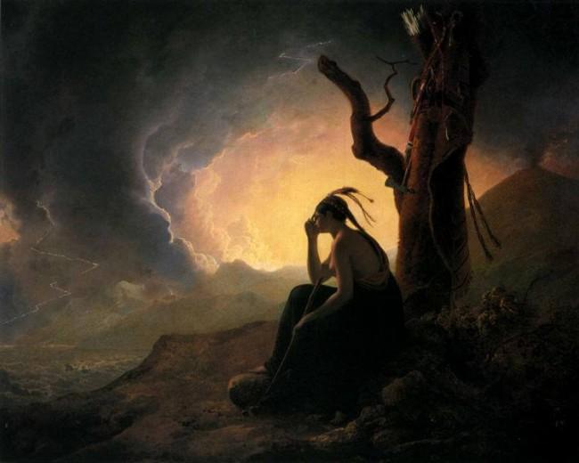 «Индейская вдова», Джозеф Райт — описание картины