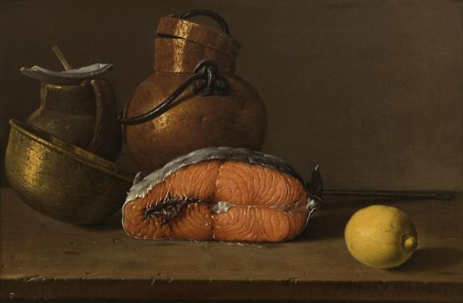 «Лососина, лимон и три сосуда», Луис Мелендес — описание картины