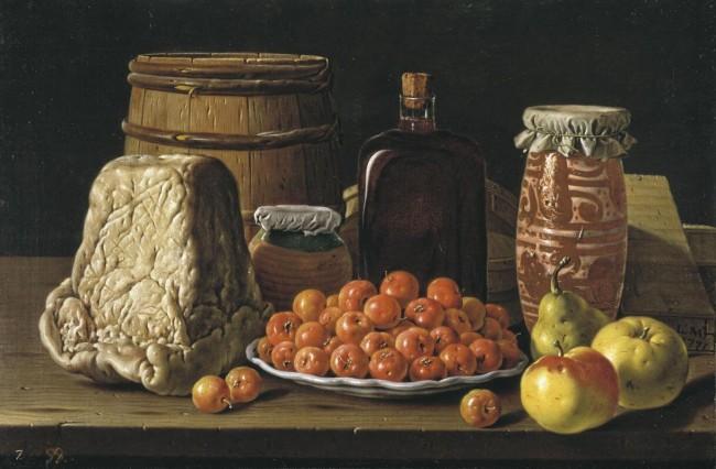 «Натюрморт с тарелкой вишен, фруктами и сыром», Луис Мелендес — описание картины