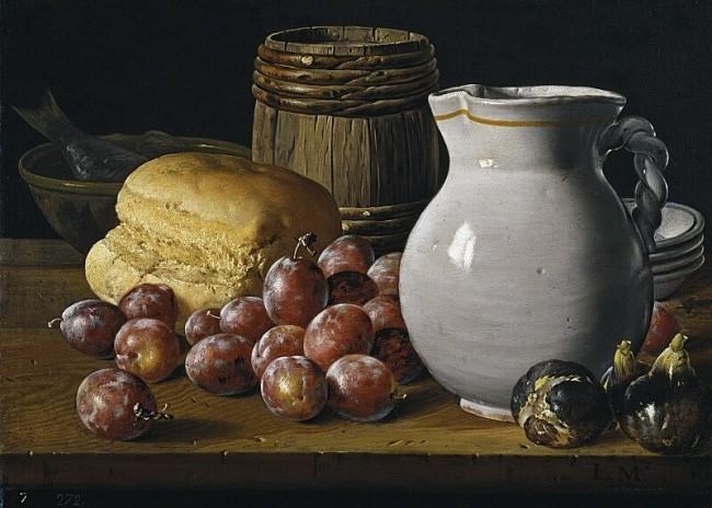 «Натюрморт со сливами, инжиром и кувшином», Луис Мелендес — описание картины