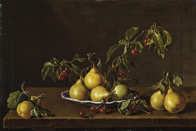 «Натюрморт с тарелкой груш и вишен», Луис Мелендес — описание картины