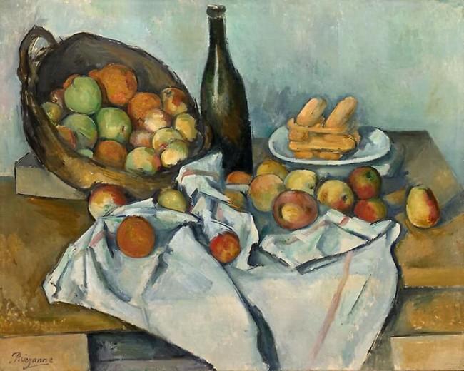 «Натюрморт с корзиной яблок», Поль Сезанн — описание картины
