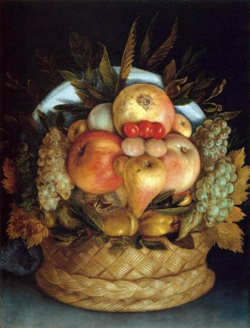«Голова и корзина с фруктами», Джузеппе Арчимбольдо — описание картины