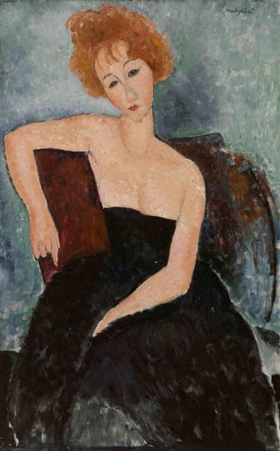 «Рыжеволосая девушка в вечернем платье», Амедео Модильяни — описание картины