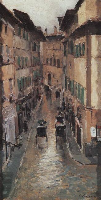 «Улица во Флоренции в дождь», Константин Коровин — описание картины