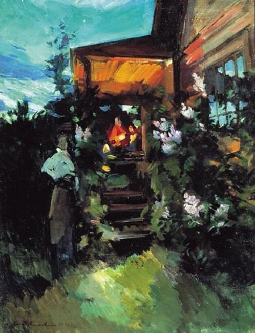 «Летним вечером у крыльца», Константин Коровин — описание картины