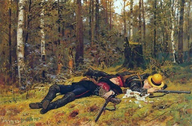 «Охотники», Константин Аполлонович Савицкий — описание картины
