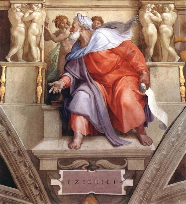 «Пророк Иезекииль», Микеланджело Буонарроти — описание картины