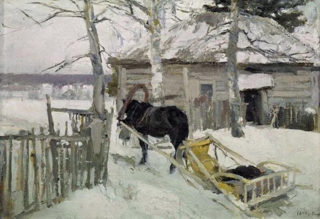 «Зимой», Константин Коровин — описание картины
