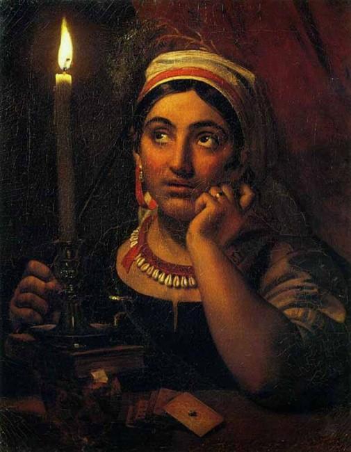 «Гадалка со свечой», Кипренский — описание картины