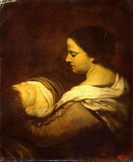 «Мать со спящим ребенком», Хуан Батиста Мартинес дель Масо — описание картины