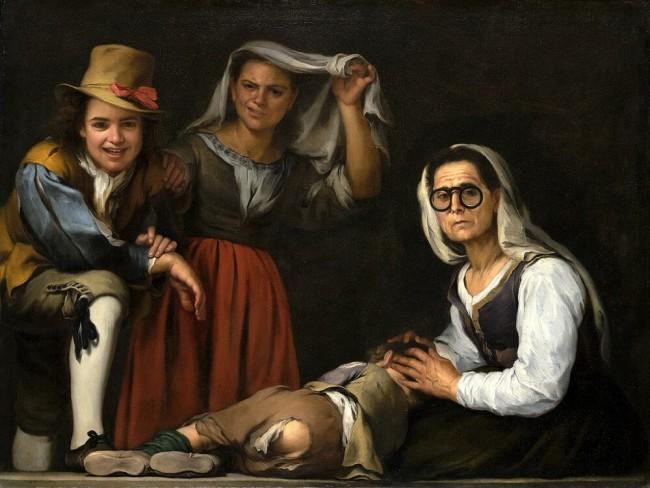 «Четыре фигуры на ступеньке», Мурильо — описание картины