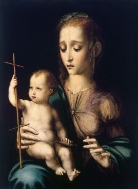 «Мадонна с младенцем и прялкой в виде креста», Луис де Моралес — описание картины