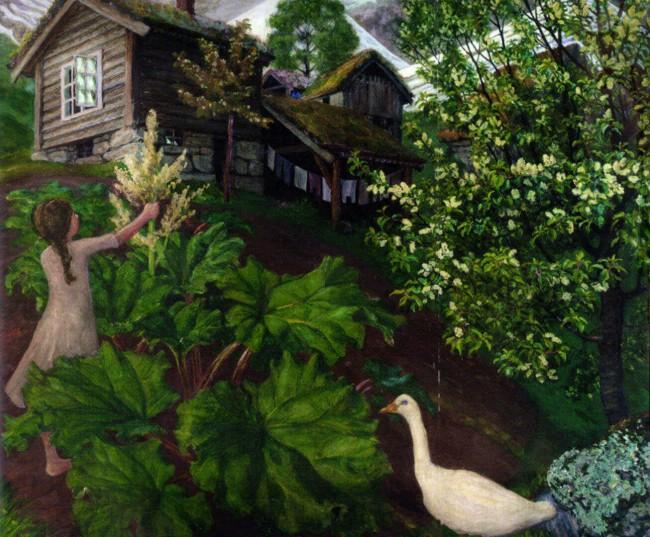 «Девочка у куста ревеня и гусь», Николай Аструп — описание картины