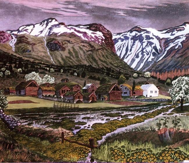 «Горный пейзаж», Николай Аструп — описание картины
